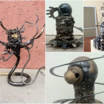 Sculpture from recycled mining equipments