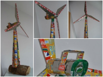 Wind turbine (5 feets) made with cans and other wastes