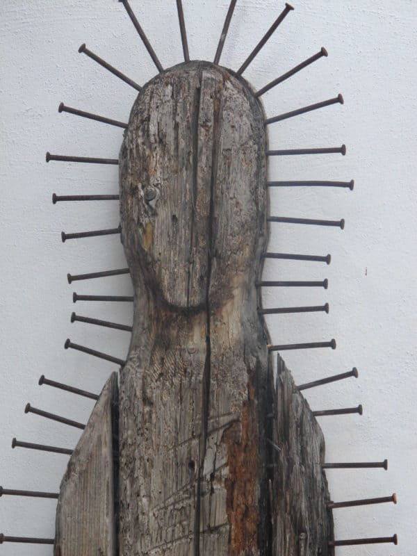 Silent Watcher in wood art  with Wood Sculpture Recycled Art Nails