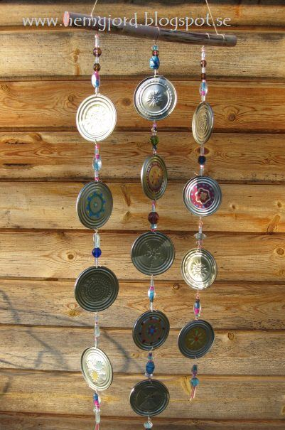 Wind chime from upcycled tin cans