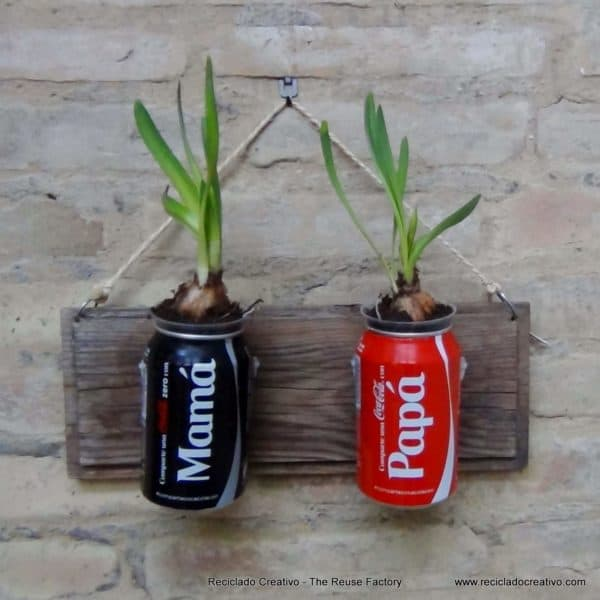 Vertical Garden with Coca Cola Cans in garden 2  with Upcycled Tin Recycled Garden ideas DIY