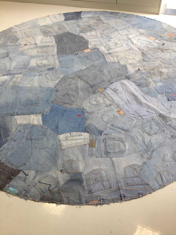 "Nice, France (NCE) Airport ""Welcome Area"" in fabric  with Tie Reused Recycled jeans carpet"