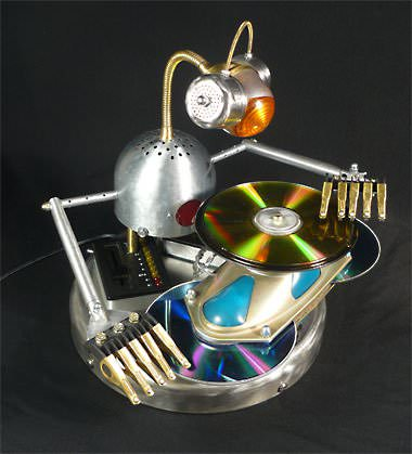 Mix Master Bot: Robot Lamp in art  with Upcycled Sculpture Robot Recycled Art Recycled Light