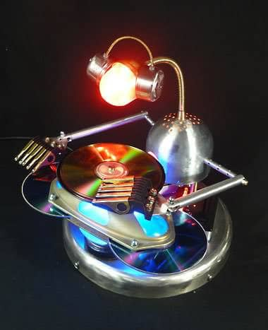 Mix Master Bot: Robot Lamp Recycled Art