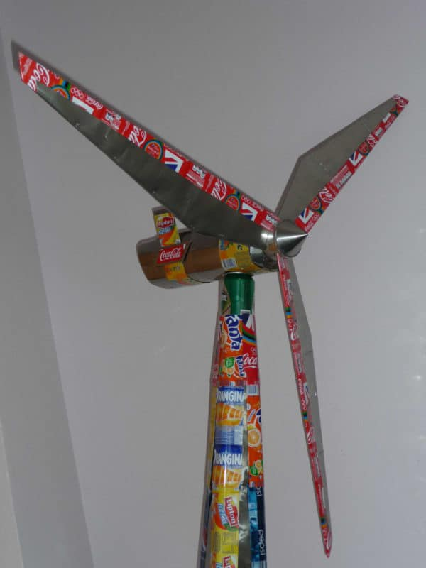 Wind Turbine (5 Feets) Made with Cans and Other Wastes Recycled Art Recycled Packaging Recycling Metal