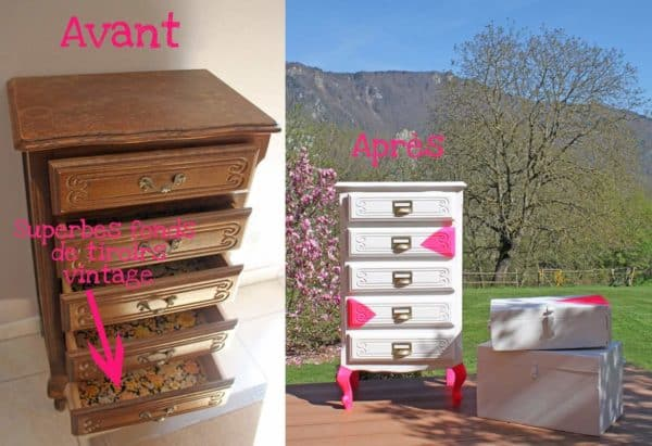 Customisation de commode (chiffonnier) in furniture diy  with upcycled furniture Reused custom Chest