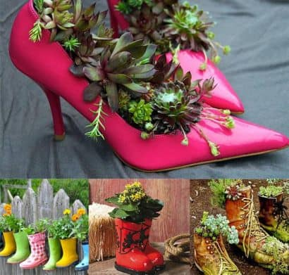 Garden decoration with recycled items