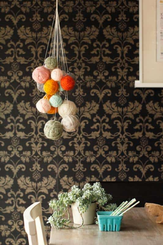 DIY: Unused Yarn Chandelier in diy  with Yarn Knit DIY Crochet Chandelier
