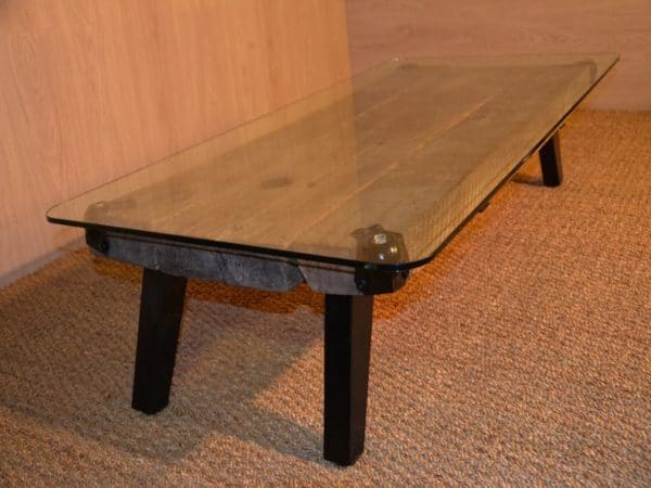 Table basse en bois m tal et verre metal glass wood coffee table - Table basse ronde metal ...