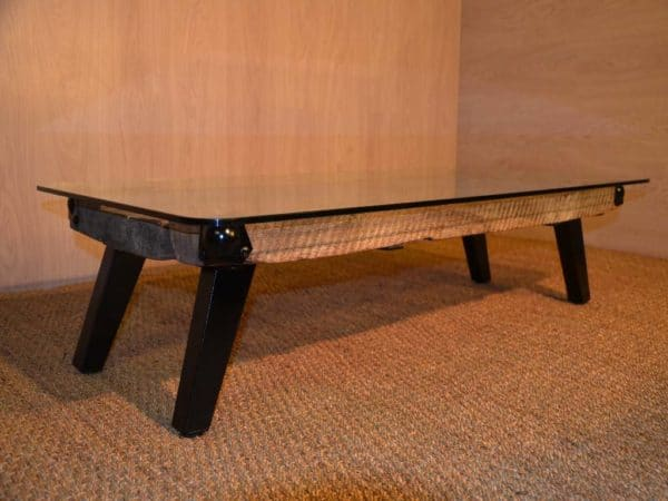 Table Basse En Bois M Tal Et Verre Metal Glass Wood Coffee Table Recycled Ideas Recyclart