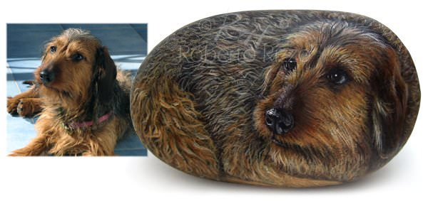 Dog and Cat Rock Portraits Commissions  by Roberto Rizzo in art  with Recycled Art pets Animals