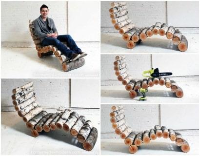 DIY: Wood Log Lounger