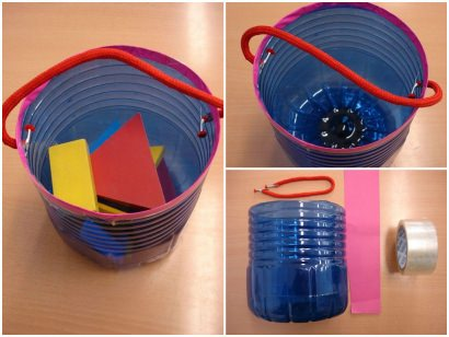 DIY: Recycled bottle for toys with handle