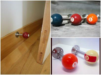 Recycled Pool Balls into door stops