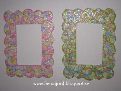 Cardboard and eggshells frames