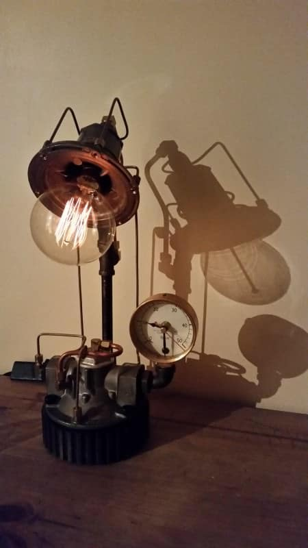Industrial Lamps and clocks in lights  with Vintage valve Upcycled Light Lamps Clock