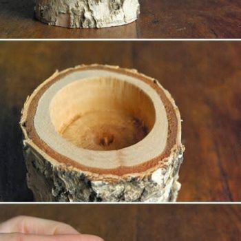 DIY: Candle holder with Birch wood