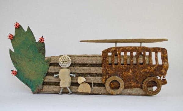 Brighton Beach Art Recycled Art Wood & Organic