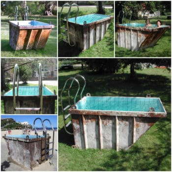 Recycled Mini Dumpster Into Pool