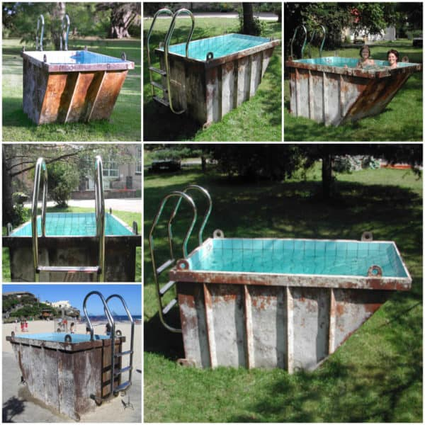 Recycled mini dumpster pool in garden 2  with Upcycled Recycled pool dumpster