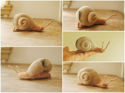 Upcycled Textile Snails
