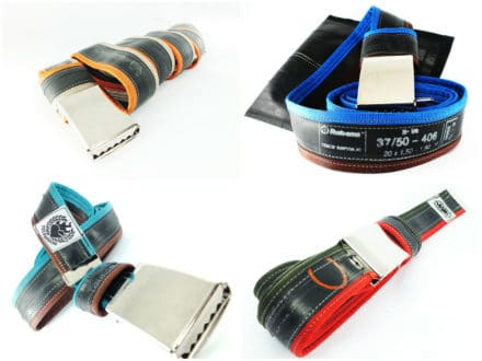 """Punctured"" bicycle inner tube belts"