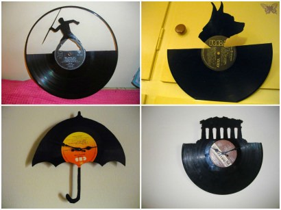 Clocks made from upcycled vinyl records