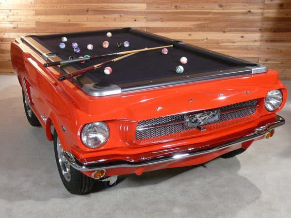 Upcycled 1965 Ford Mustang into pool table in furniture  with Table Recycled pool