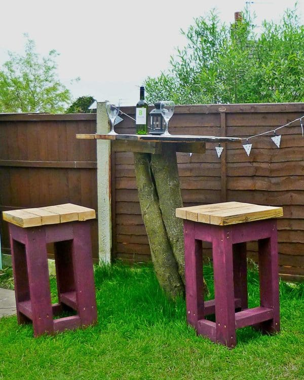 Tree Top Table and Stools made from Reclaimed Timber in wood furniture  with Wood Upcycled Tree Table