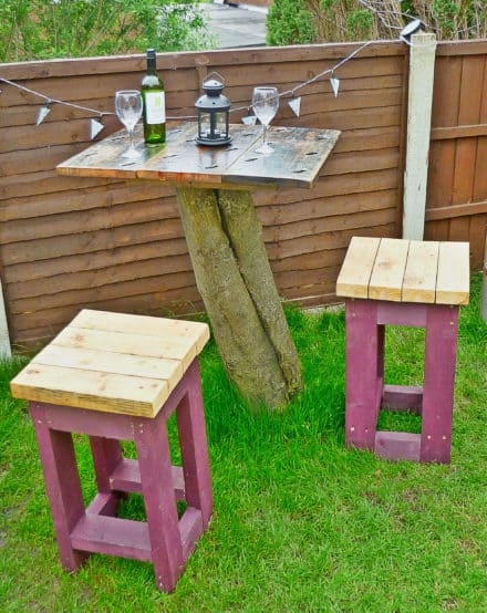 Tree Top Table and Stools made from Reclaimed Timber
