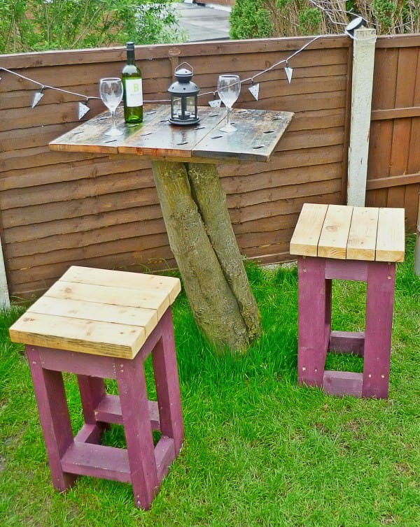 Tree Top Table and Stools made from Reclaimed Timber Recycled Furniture Wood & Organic