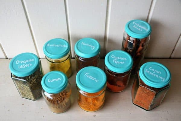 Colourful Chalkboard Spice Jars Do-It-Yourself Ideas Recycled Glass