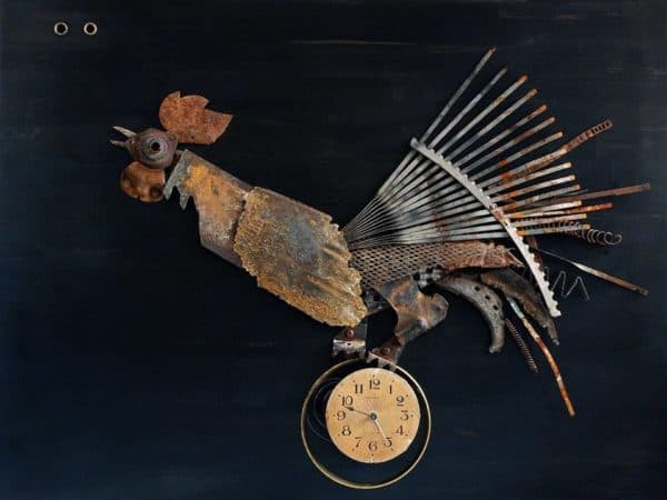 Alchemy of the Landfills in art metals  with Sculpture Recycled Art Metal Assemblage