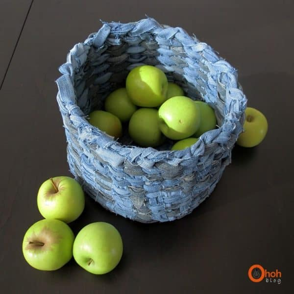 Basket made from recycled denim in fabric diy  with storage DIY denim