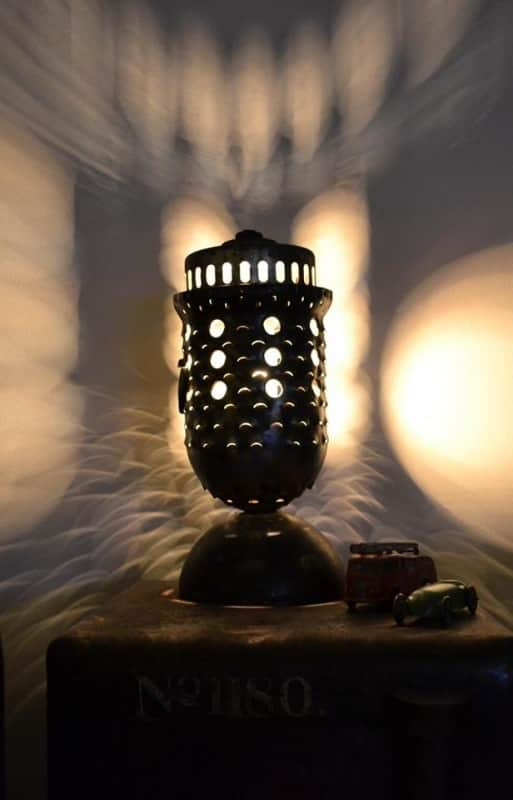 Industrial lamp made from recycled airplane parts in lights  with Recycled parts Light desk lamp