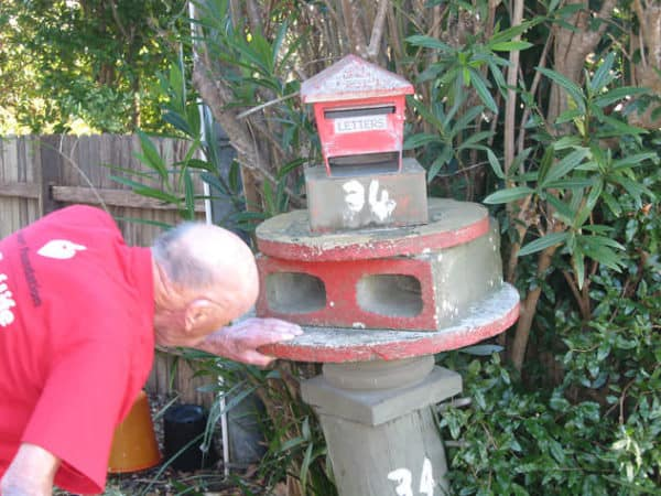 A collection of 38 recycled Mailboxes from Sydney in garden 2  with Upcycled Recycled
