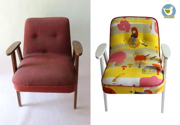 Vintage armchairs before and after renewal in furniture  with upcycled furniture Upcycled Recycled Chair