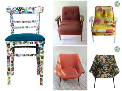 Vintage armchairs before and after renewal