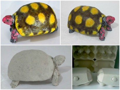 Recycled egg  boxes into an amazing turtle