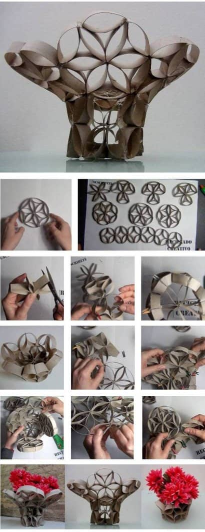 DIY: Vase made from toilet paper rolls