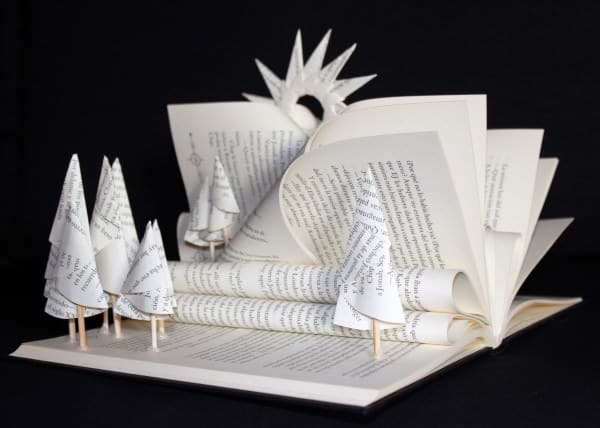 Altered books Art in art paper  with Recycled Art Paper & Books Books