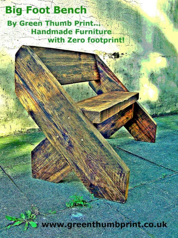 The Big Foot Bench by Green Thumb Print Recycled Furniture Wood & Organic