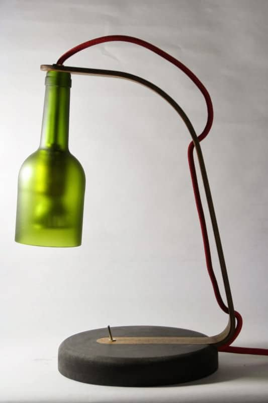 Upcycled Wine Bottle Desk Lamp in lights  with Upcycled Recycled Light desk lamp