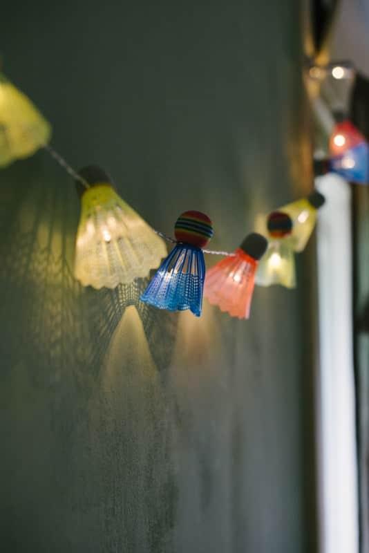 Diy: Badminton Shuttlecock Lights Garland Do-It-Yourself Ideas Recycled Sports Equipment
