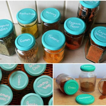 Colourful chalkboard spice jars
