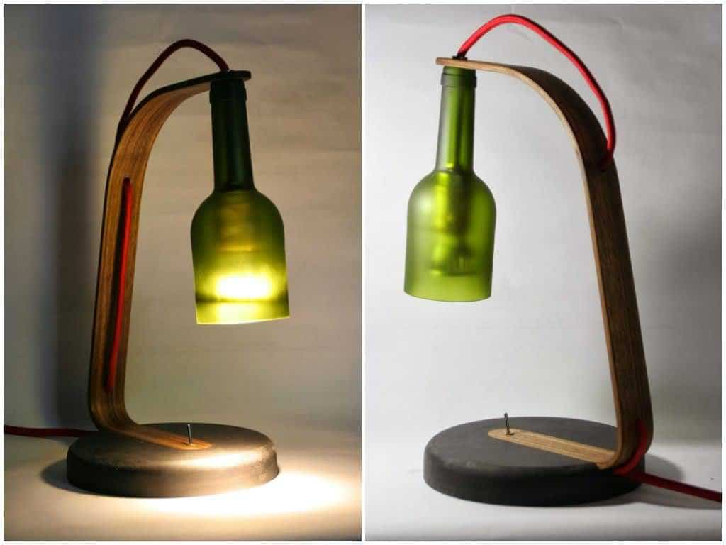 Upcycled wine bottle desk lamp recycled ideas recyclart