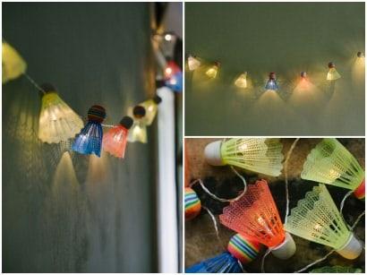 DIY: Badminton shuttlecock lights garland