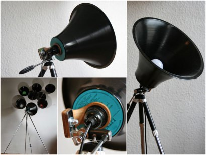 Studio Lamp made from upcycled LP and Tripod