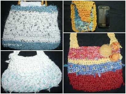 Bags made from recycled curtains