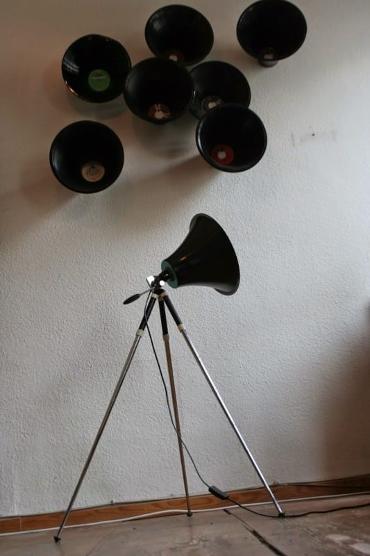 Studio Lamp made from upcycled LP and Tripod Lamps & Lights